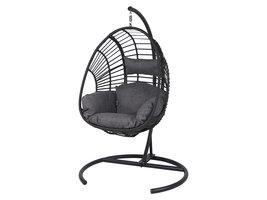 Armin schommelbank-stoel incl. kussen, zwart, zwart en grijs.