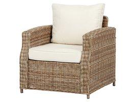 Gram fauteuil tuin model 1, incl. kussen, naturel en off white.