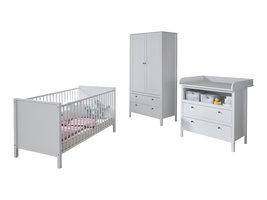 Ory  babykamer set, ledikant, commode en 2-deurs kast, wit.