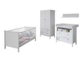 Ory  babykamer set, ledikant, commode, wandplank en 2-deurs kast, wit.