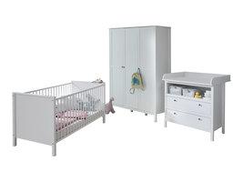 Ory  babykamer set, ledikant, commode en 3-deurs kast, wit.