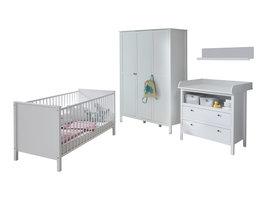 Ory  babykamer set, ledikant, commode, wandplank en 3-deurs kast, wit.