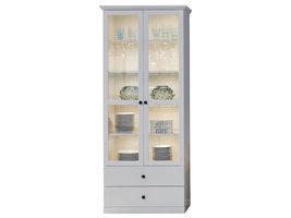 Brax vitrinekast 2 deuren en 2 lades, wit.