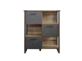 Prip wandkast 3 deuren en 3 planken, Old Wood decor, Matera decor.