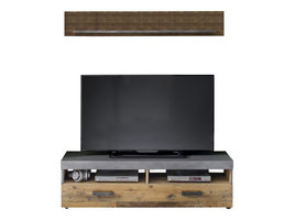 Irina TV-meubel 2 planken en 1 klep, grijs Matera, Old Wood decor.