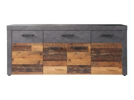 Irina dressoir 4 deuren en 1 lade, grijs Matera, Old Wood decor.