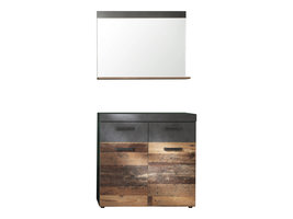 Irwin  garderobe opstelling F, grijs Matera decor, Old Wood decor.