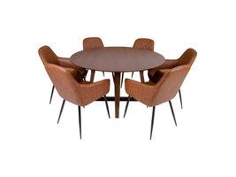 Hello eethoek , 1 eetkamertafel en 6 eetkamerstoelen, bruin en walnoot decor.