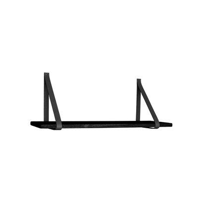 Foyle wandplank 80x20 cm zwart, leren riemen zwart.