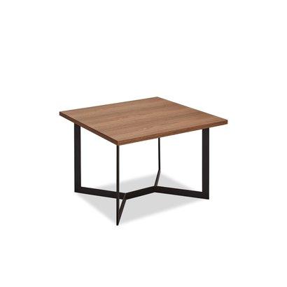 Tori salontafel 70x70 cm walnoot fineer, zwart.