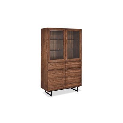 Tori vitrinekast 2 glazen deuren, 2 lades, 2 deuren walnoot fineer, zwart.