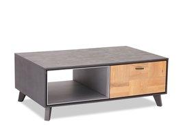 Seth salontafel 75x120 cm 1 vak, 2 kleppen grijs, eiken.