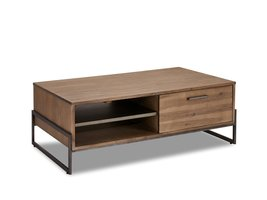 Maro salontafel 75x120 cm 2 lades, 1 plank bruin acaciahout, metaal grijs.