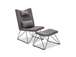 Cobe fauteuil incl. voetenbank en kussen voor nek en rug, grijs, metaal zwart.