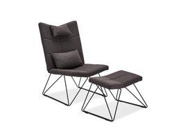 Cobe fauteuil incl. voetenbank en kussen voor nek en rug, zwart, metaal zwart.