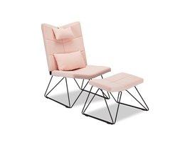 Cobe fauteuil incl. voetenbank en kussen voor nek en rug, roze, metaal zwart.