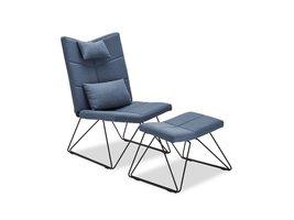 Cobe fauteuil incl. voetenbank en kussen voor nek en rug, blauw, metaal zwart.