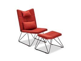 Cobe fauteuil incl. voetenbank en kussen voor nek en rug, rood, metaal zwart.