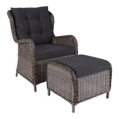Lene loungestoel met voetenbank en incl. kussen, grijs.