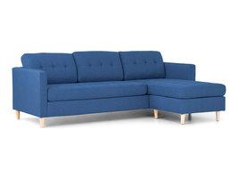 Norrut Mars 3-zitsbank met chaise longue links stof blauw