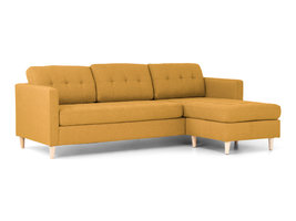 House Nordic Mars 3-zitsbank met chaise longue in kerriegeel.