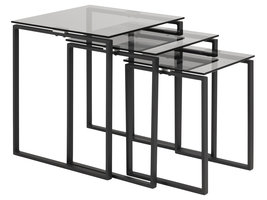 Kamma salontafel bijzettafels set met 3 stk grijs.
