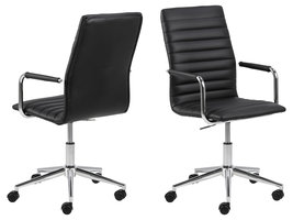 Wips kantoorstoel echt leer zwart.