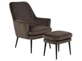 Chark fauteuil met voetenbank bruin.