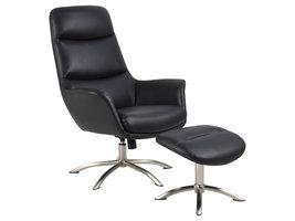 Dalle fauteuil met voetenbank en kantelfunctie zwart.