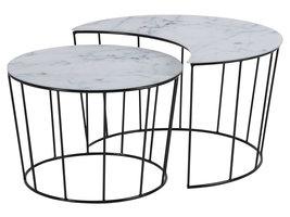 Sunny salontafel salontafel set, wit marmer print wit.