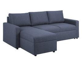 Sander slaapbank met chaise longue, opbergruimte en uittrek blauw.