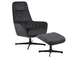 Trafford fauteuil incl. voetbankje, grijs.