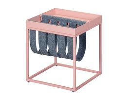 Cute salontafel met tijdschriftenhouder grijs en roze.