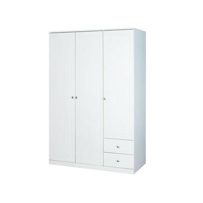 Margir kledingkast met 3 deuren en 2 laden wit.
