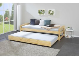 Vicki bed 90x200 cm met extra bed naturel gelakt.