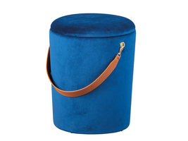 Pampurs poef , krukje met opbergruimte blauw en bruin.