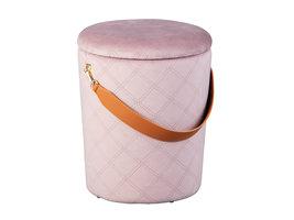 Narus poef , krukje met opbergruimte roze en bruin.