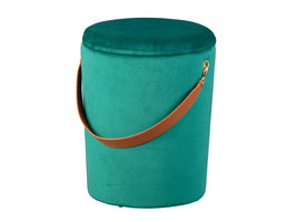 Pampurs poef , krukje met opbergruimte groen en bruin.