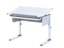 Stog  bureau met hef-/daalplaat en 1 lade wit en grijs.