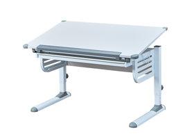 Skog  bureau met hef-/daalplaat en 1 lade wit en grijs.