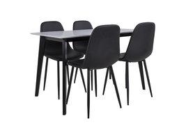 Voma eethoek , 1 eettafel en 4 stoelen zwart en wit.