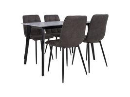 Voma eethoek , 1 eettafel en 4 stoelen donker bruin en wit.
