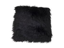 Laila stoelkusen, lamsvel imitatie 40x40 cm zwart.