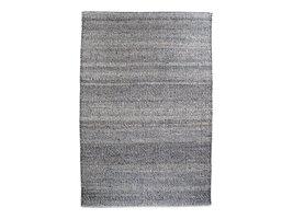 Orio vloerkleed handgeweven 200x300 cm, laagpolig grijs, licht blauw.