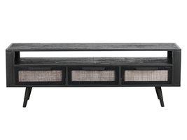 NordicMindiRattan TV-meubel met 1 legplank en 3 laden, zwart.