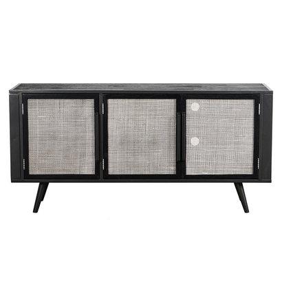 NordicMindiRattan TV-meubel met 3 deuren, zwart.