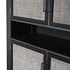 NordicMindiRattan vitrinekast , kast hoog met 1 legplank en 4 deuren, zwart.