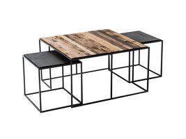 Rustika salontafel inzettafels set met 3 stuks, rustiek boothout & zwart.