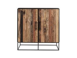 Rustika dressoir met 2 deuren, rustiek boothout & zwart.