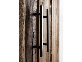 Rustika vitrinekast met 2 deuren, rustiek boothout & zwart.